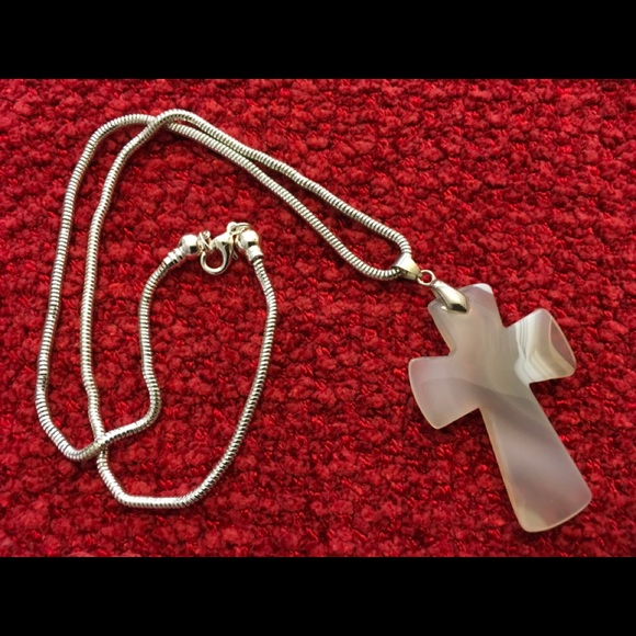 Jewelry - NATURAL STONE CROSS WITH 10 INCH CHAIN